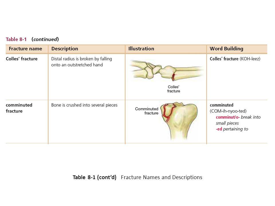 Table 8-1 (cont'd) Fracture Names and Descriptions