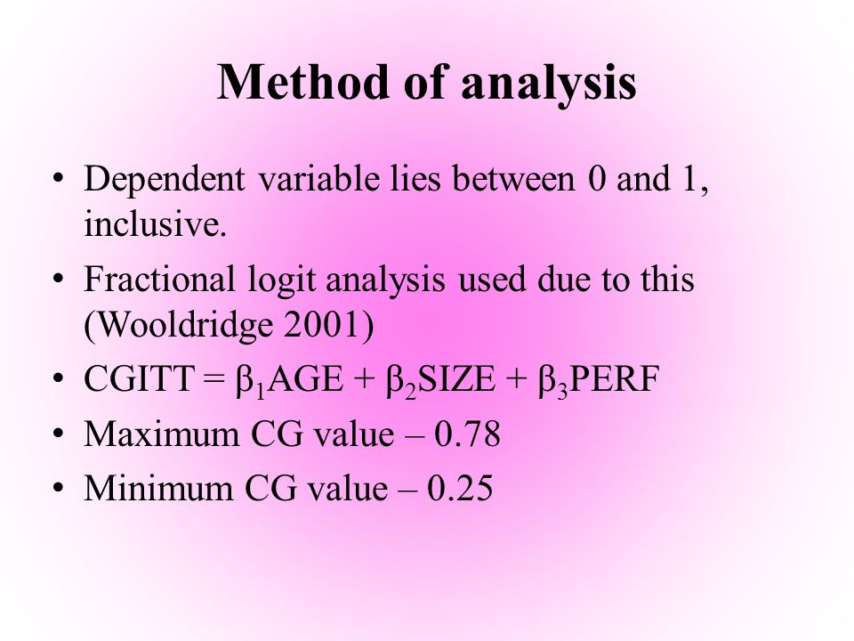Method of analysis Dependent variable lies between 0 and 1, inclusive. Fractional logit analysis used due to this (Wooldridge 2001) CGITT = β 1 AGE +