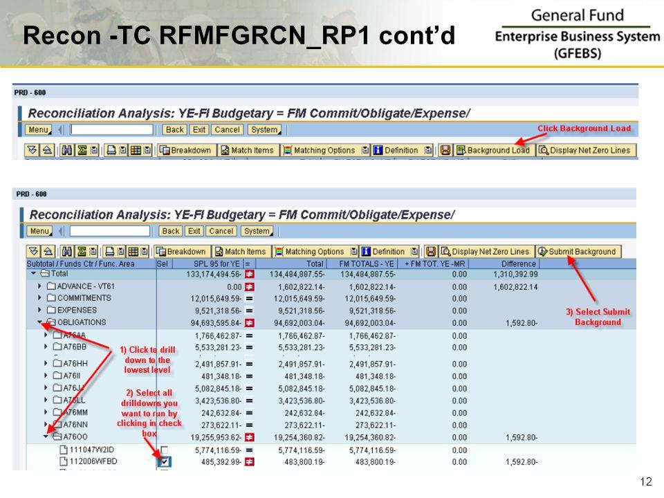 Recon -TC RFMFGRCN_RP1 cont'd 12