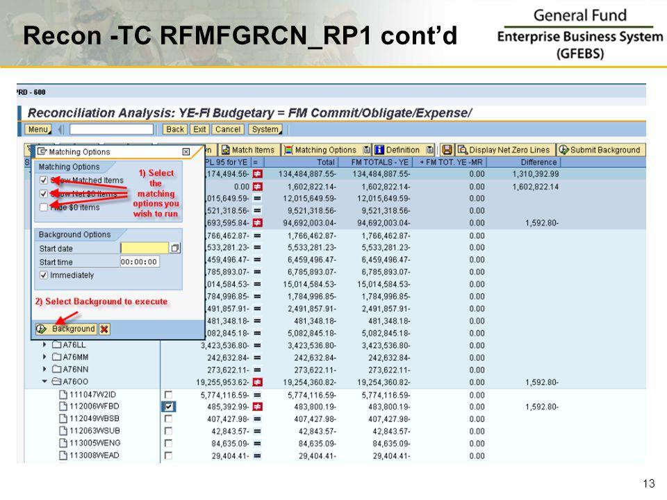 Recon -TC RFMFGRCN_RP1 cont'd 13
