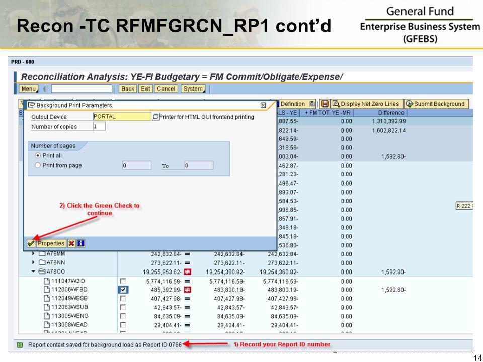 Recon -TC RFMFGRCN_RP1 cont'd 14