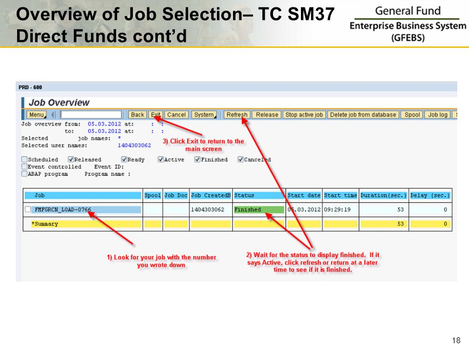 18 Overview of Job Selection– TC SM37 Direct Funds cont'd