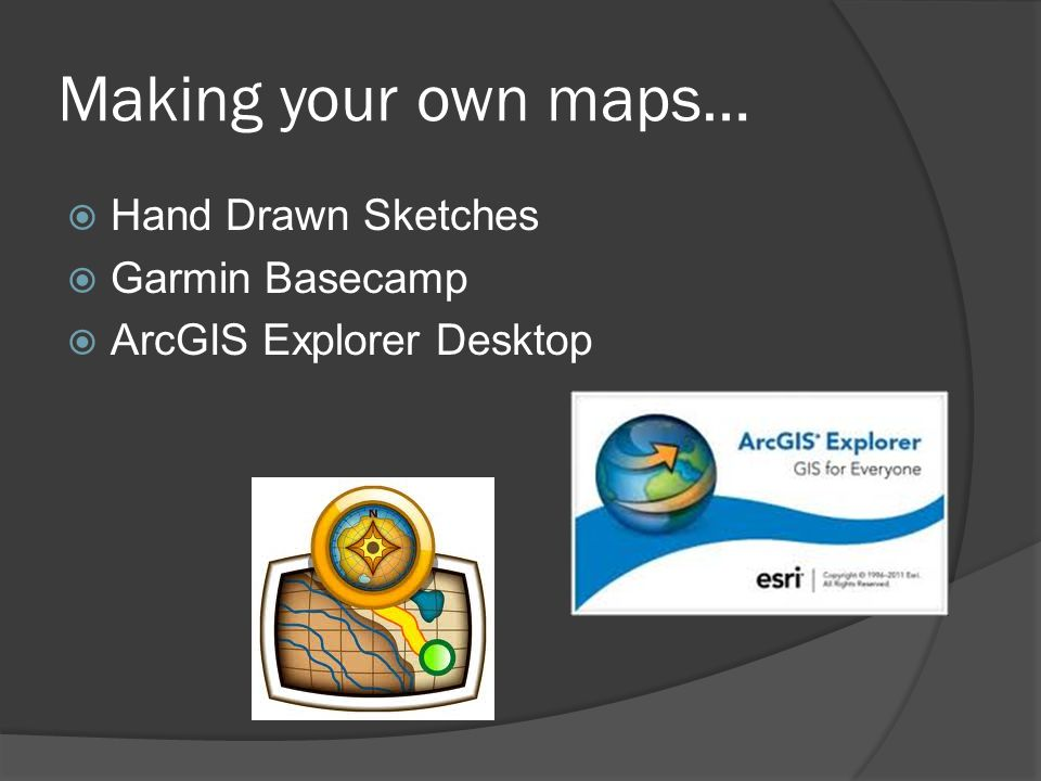 Making your own maps…  Hand Drawn Sketches  Garmin Basecamp  ArcGIS Explorer Desktop