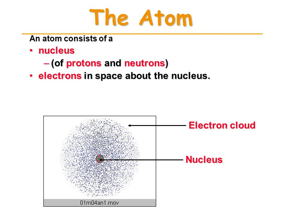 ATOMIC COMPOSITION ProtonsProtons –+ electrical charge –mass = 1.672623 x 10 -24 g –relative mass = 1.007 atomic mass units (amu) ElectronsElectrons –