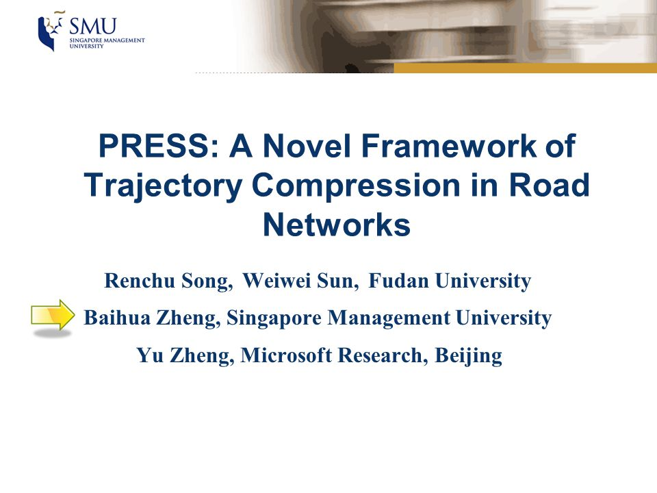 Background Big Data –Huge volume of spatial trajectories cause heavy burden to data storage and data process –Trajectories contain redundant parts that contribute very limited to spatial and temporal information Solution: Trajectory Compression