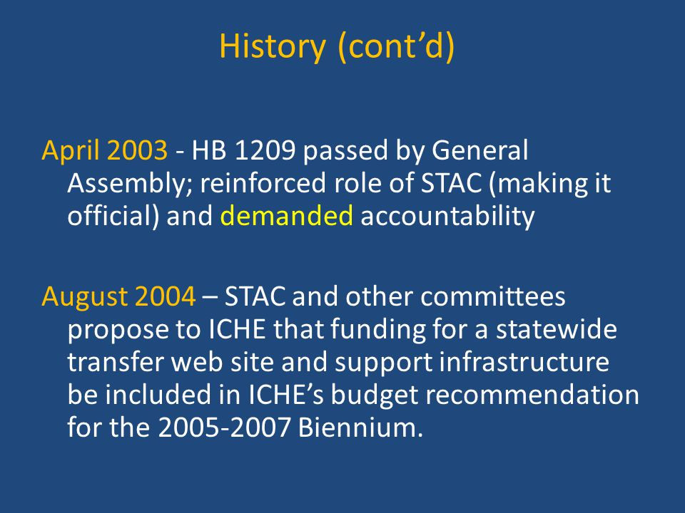 History (cont'd) April 2003 - HB 1209 passed by General Assembly; reinforced role of STAC (making it official) and demanded accountability August 2004 – STAC and other committees propose to ICHE that funding for a statewide transfer web site and support infrastructure be included in ICHE's budget recommendation for the 2005-2007 Biennium.