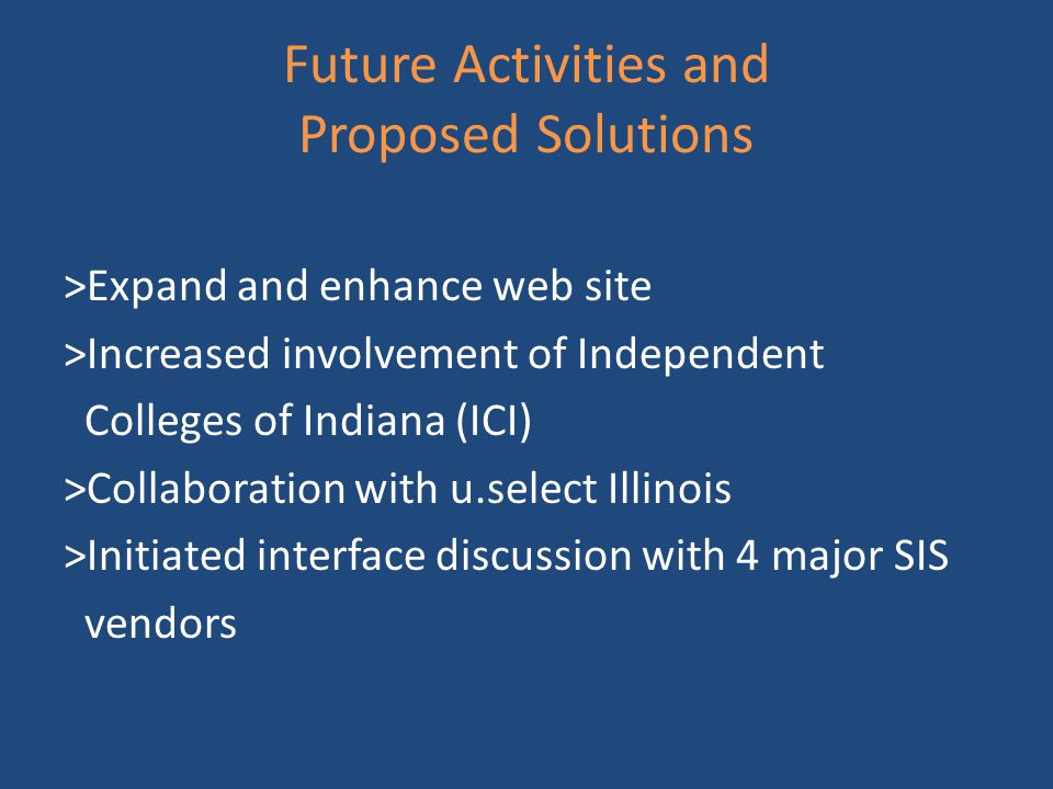 Future Activities and Proposed Solutions >Expand and enhance web site >Increased involvement of Independent Colleges of Indiana (ICI) >Collaboration with u.select Illinois >Initiated interface discussion with 4 major SIS vendors