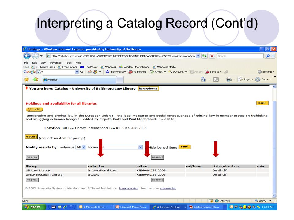 Interpreting a Catalog Record (Cont'd)