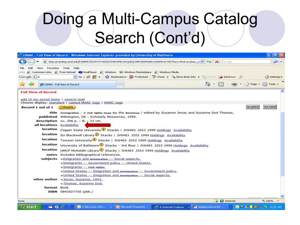 Doing a Multi-Campus Catalog Search (Cont'd)