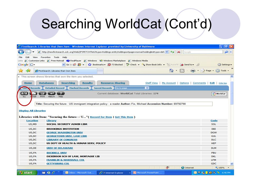 Searching WorldCat (Cont'd)