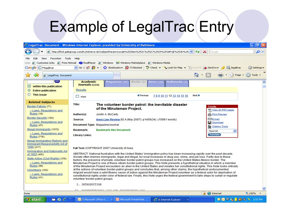 Example of LegalTrac Entry