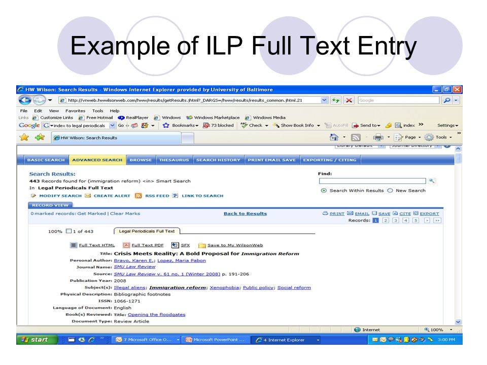Example of ILP Full Text Entry