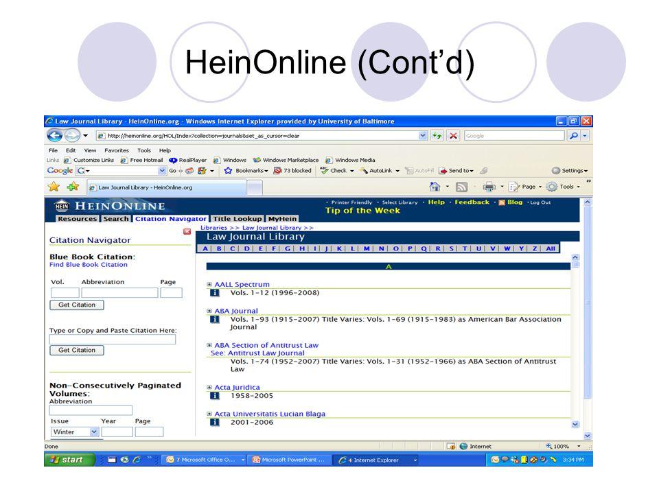 HeinOnline (Cont'd)