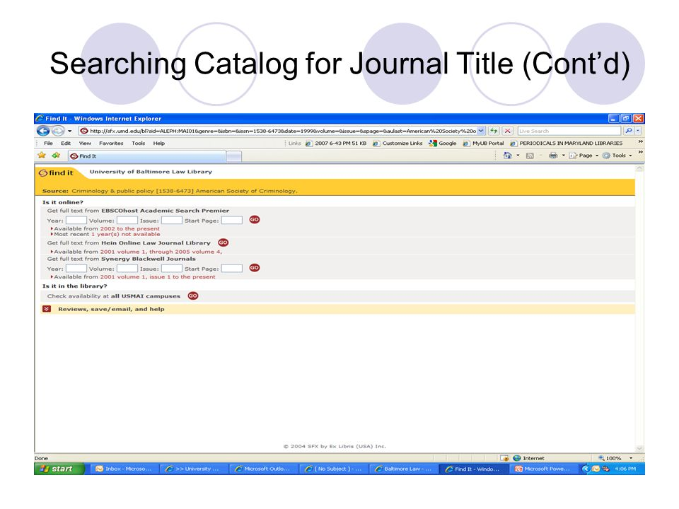 Searching Catalog for Journal Title (Cont'd)