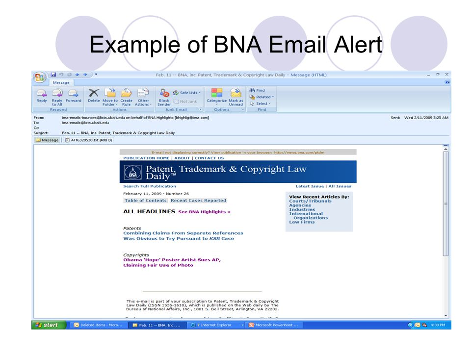 Example of BNA Email Alert
