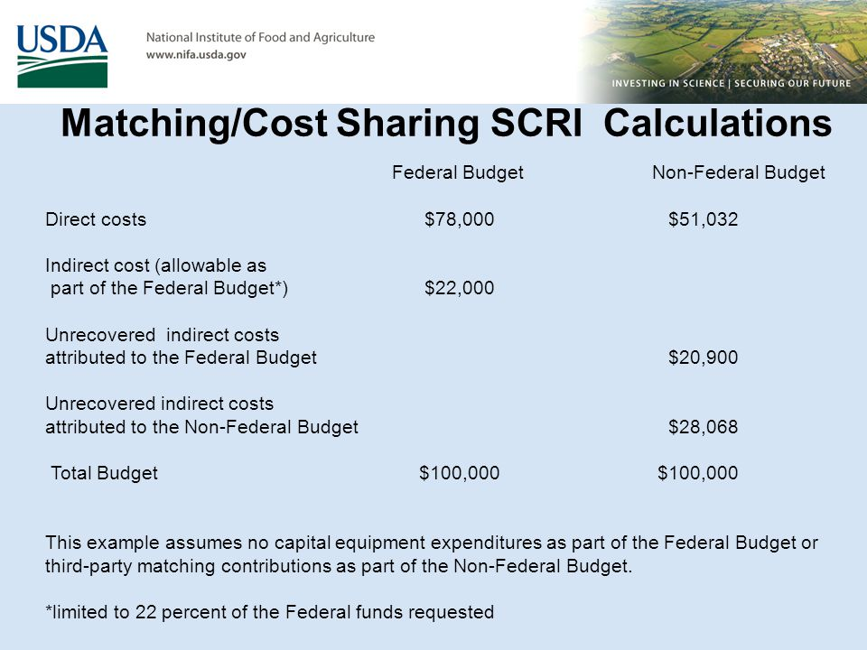 Federal BudgetNon-Federal Budget Direct costs $78,000 $51,032 Indirect cost (allowable as part of the Federal Budget*) $22,000 Unrecovered indirect co