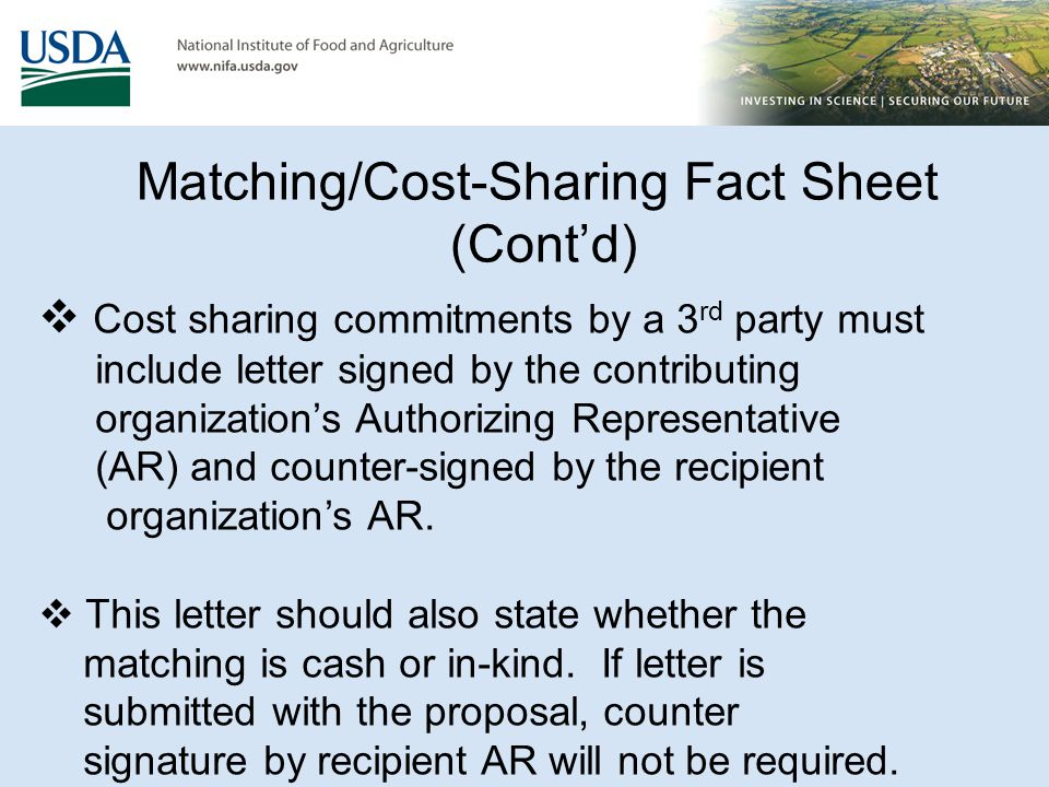Matching/Cost Sharing Letters (Cont'd)