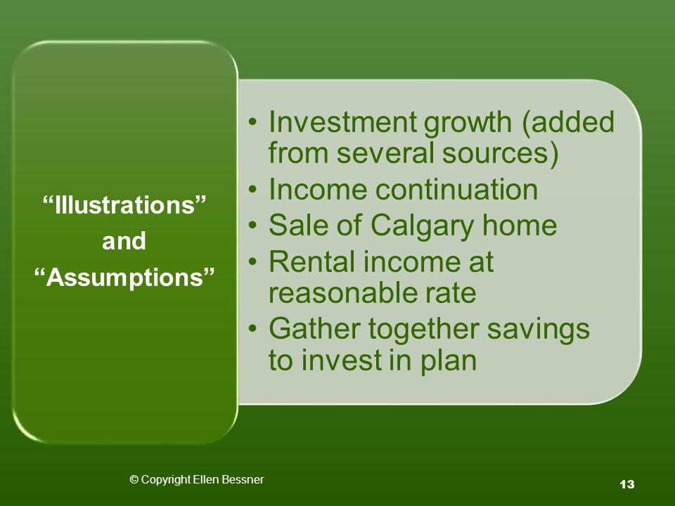 © Copyright Ellen Bessner 13 Investment growth (added from several sources) Income continuation Sale of Calgary home Rental income at reasonable rate Gather together savings to invest in plan Illustrations and Assumptions