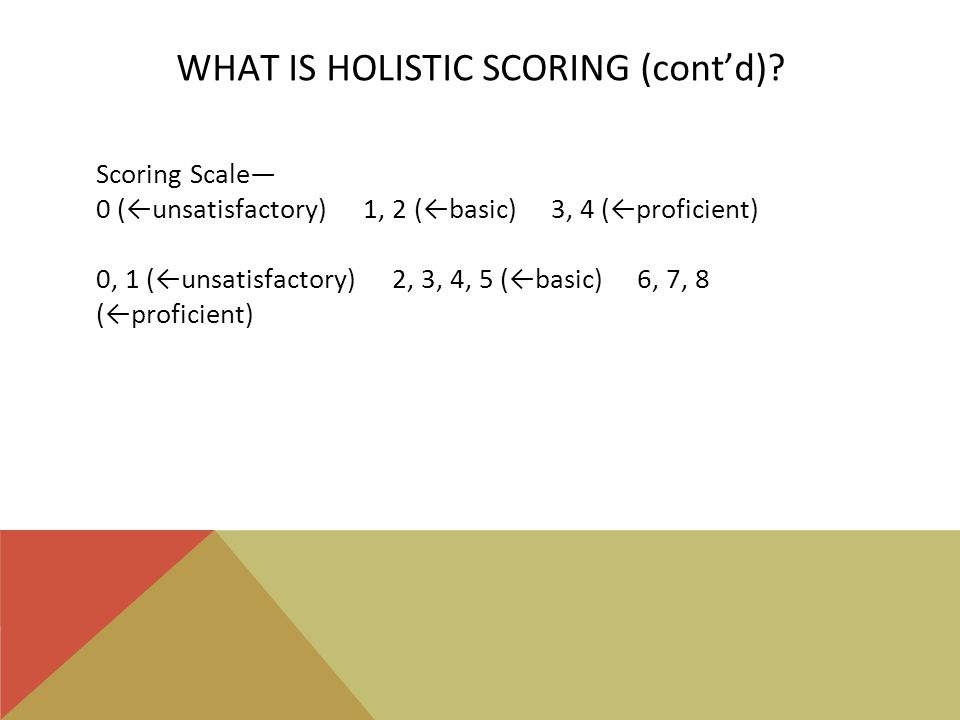 WHAT IS HOLISTIC SCORING (cont'd).