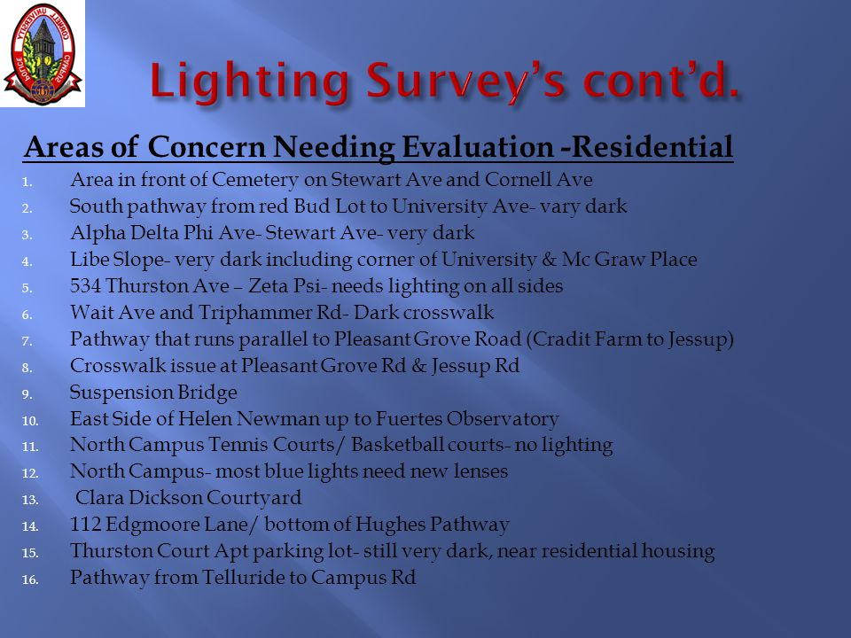 Areas of Concern Needing Evaluation -Residential 1. Area in front of Cemetery on Stewart Ave and Cornell Ave 2. South pathway from red Bud Lot to Univ