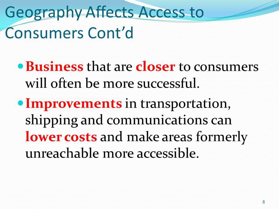 Geography Affects Access to Consumers Cont'd Business that are closer to consumers will often be more successful.