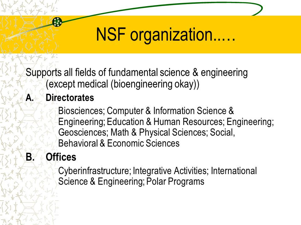 NSF organization..… Supports all fields of fundamental science & engineering (except medical (bioengineering okay)) A.Directorates Biosciences; Computer & Information Science & Engineering; Education & Human Resources; Engineering; Geosciences; Math & Physical Sciences; Social, Behavioral & Economic Sciences B.Offices Cyberinfrastructure; Integrative Activities; International Science & Engineering; Polar Programs