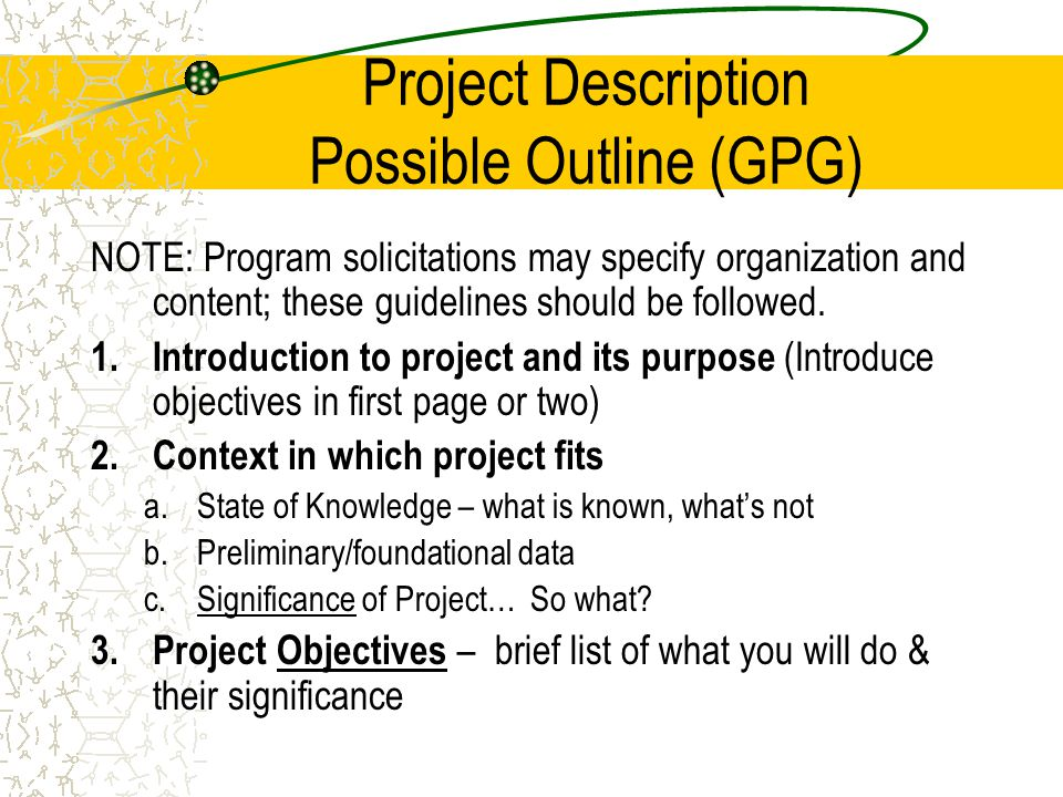 Project Description Possible Outline (GPG) NOTE: Program solicitations may specify organization and content; these guidelines should be followed.