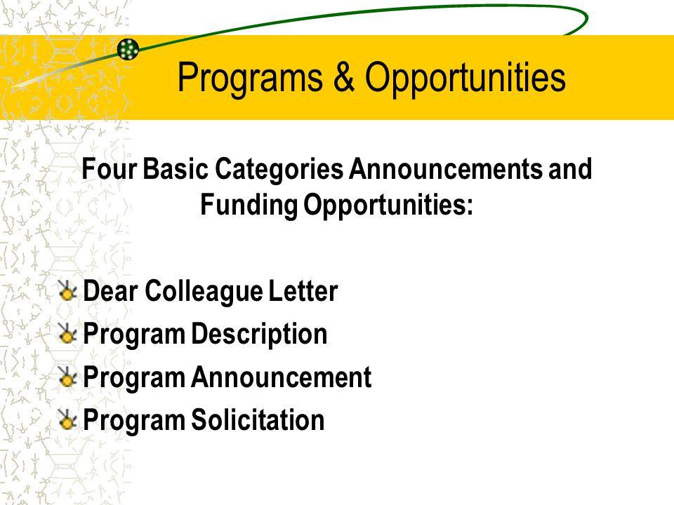 Programs & Opportunities Four Basic Categories Announcements and Funding Opportunities: Dear Colleague Letter Program Description Program Announcement Program Solicitation