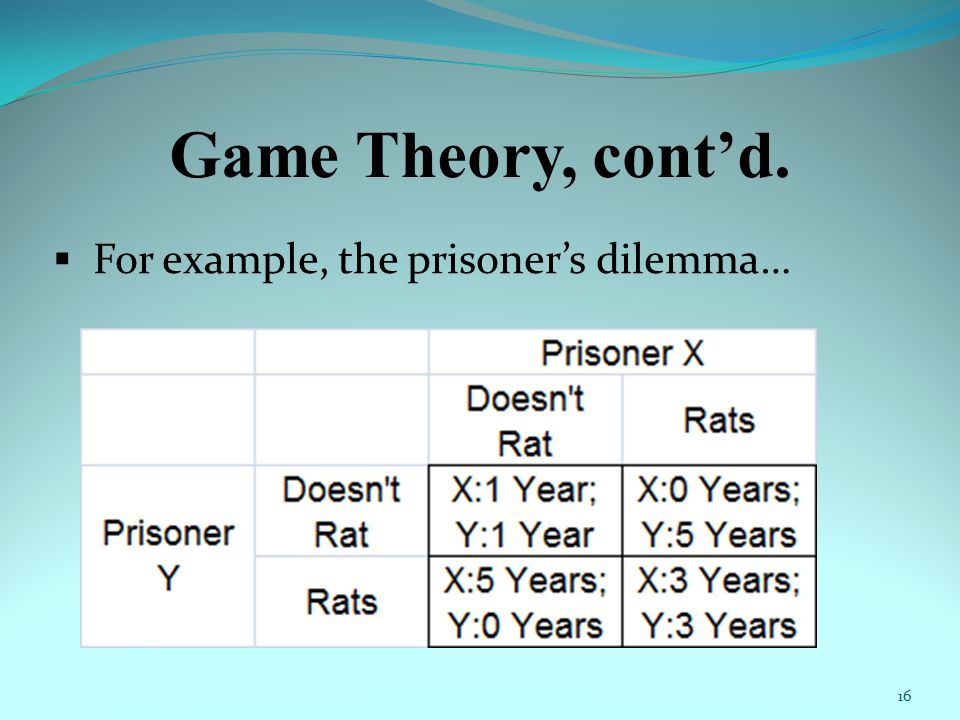 Game Theory, cont'd.  For example, the prisoner's dilemma… 16