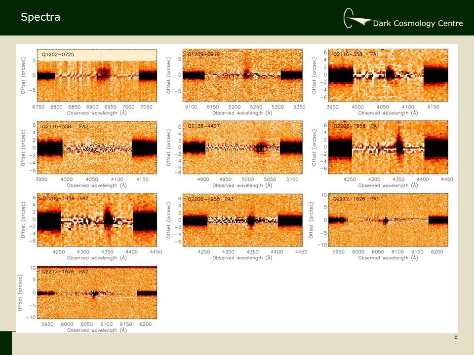 9 1d spectra, SB profiles and velocity profiles