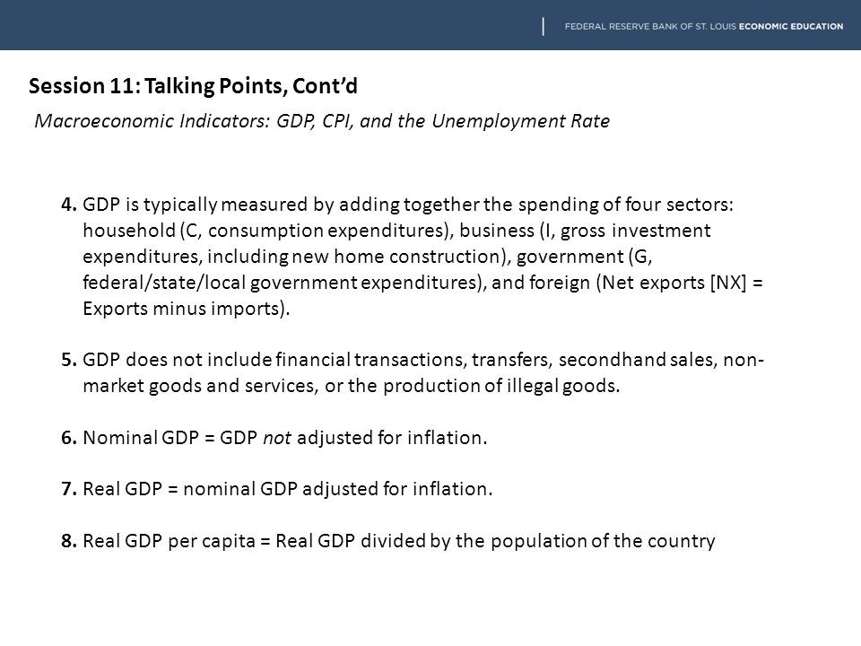 Session 11: Talking Points, Cont'd Macroeconomic Indicators: GDP, CPI, and the Unemployment Rate 4.