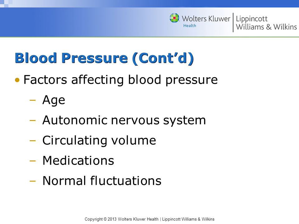 Copyright © 2013 Wolters Kluwer Health | Lippincott Williams & Wilkins Blood Pressure (Cont'd) Factors affecting blood pressure –Age –Autonomic nervous system –Circulating volume –Medications –Normal fluctuations