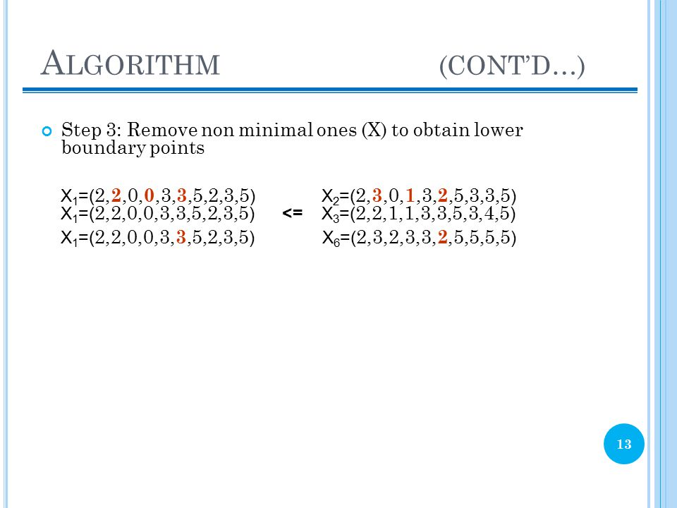 A LGORITHM (CONT'D…) 13 Step 3: Remove non minimal ones (X) to obtain lower boundary points X 1 =( 2, 2,0, 0,3, 3,5,2,3,5 ) X 2 =( 2, 3,0, 1,3, 2,5,3,3,5 ) X 1 =( 2,2,0,0,3,3,5,2,3,5 ) <= X 3 =( 2,2,1,1,3,3,5,3,4,5 ) X 1 =( 2,2,0,0,3, 3,5,2,3,5 ) X 6 =( 2,3,2,3,3, 2,5,5,5,5 )