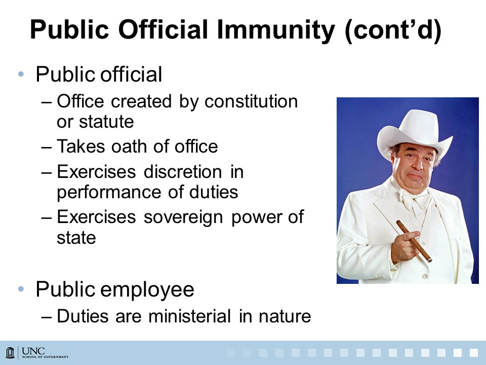 Public Official Immunity (cont'd) Public official –Office created by constitution or statute –Takes oath of office –Exercises discretion in performance of duties –Exercises sovereign power of state Public employee –Duties are ministerial in nature
