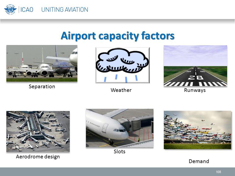 Airport capacity factors 108 Separation Runways Aerodrome design Weather Demand Slots