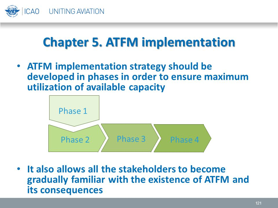 Chapter 5. ATFM implementation 121 ATFM implementation strategy should be developed in phases in order to ensure maximum utilization of available capa