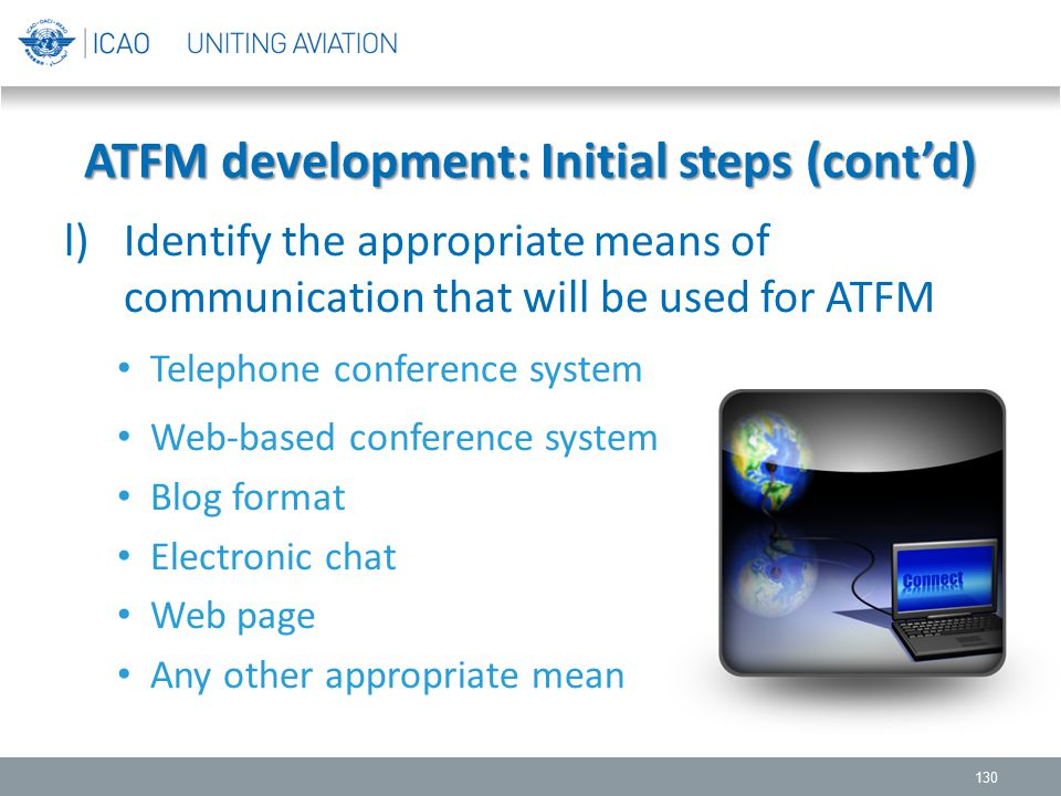 l)Identify the appropriate means of communication that will be used for ATFM Telephone conference system Web-based conference system Blog format Elect