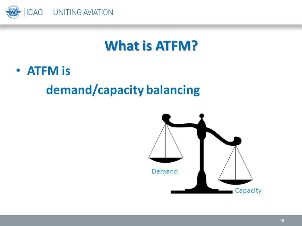 What is ATFM? 16 ATFM is demand/capacity balancing Demand Capacity