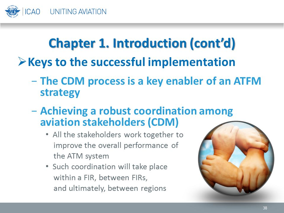 Chapter 1. Introduction (cont'd)  Keys to the successful implementation −The CDM process is a key enabler of an ATFM strategy −Achieving a robust coo