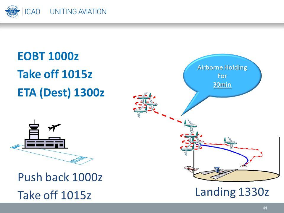 41 EOBT 1000z Take off 1015z ETA (Dest) 1300z Push back 1000z Take off 1015z Landing 1330z Airborne Holding For30min