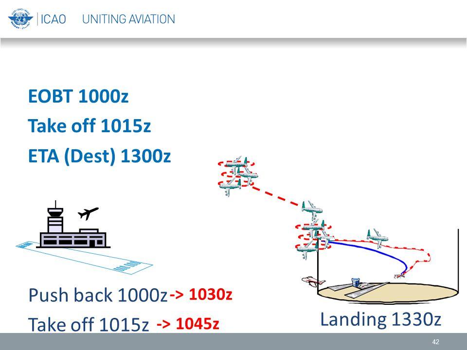 42 EOBT 1000z Take off 1015z ETA (Dest) 1300z Push back 1000z Take off 1015z Landing 1330z -> 1030z -> 1045z