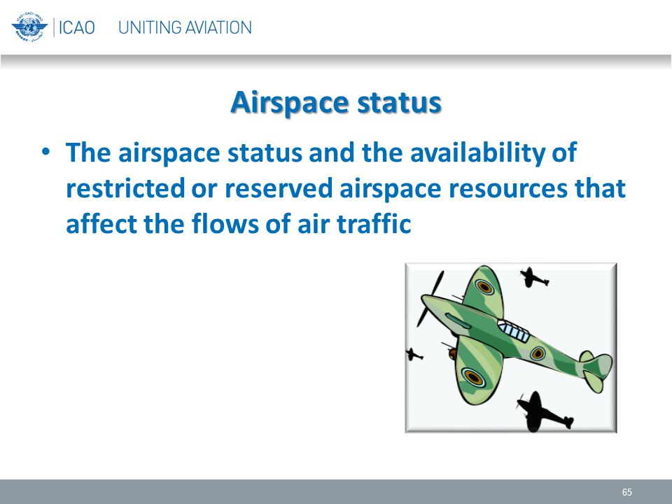 Airspace status The airspace status and the availability of restricted or reserved airspace resources that affect the flows of air traffic 65