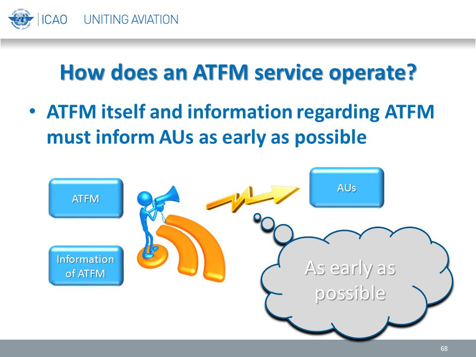 How does an ATFM service operate? ATFM itself and information regarding ATFM must inform AUs as early as possible 68 ATFM AUs Information of ATFM As e