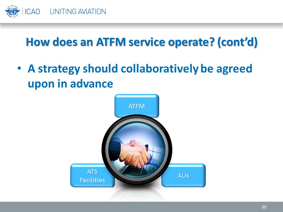 How does an ATFM service operate? (cont'd) A strategy should collaboratively be agreed upon in advance 69 ATFM AUsATSFacilities