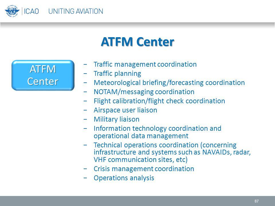 ATFM Center 87 −Traffic management coordination −Traffic planning −Meteorological briefing/forecasting coordination −NOTAM/messaging coordination −Fli