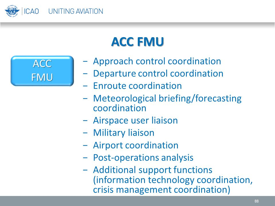 ACC FMU 88 −Approach control coordination −Departure control coordination −Enroute coordination −Meteorological briefing/forecasting coordination −Air
