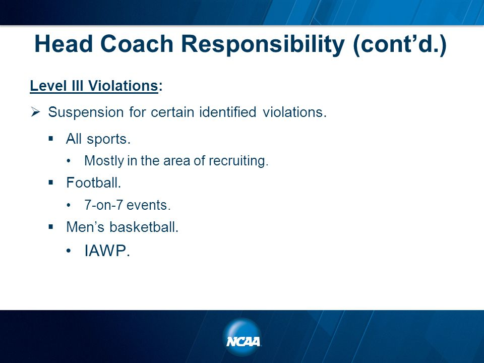 Head Coach Responsibility (cont'd.) Level III Violations:  Suspension for certain identified violations.