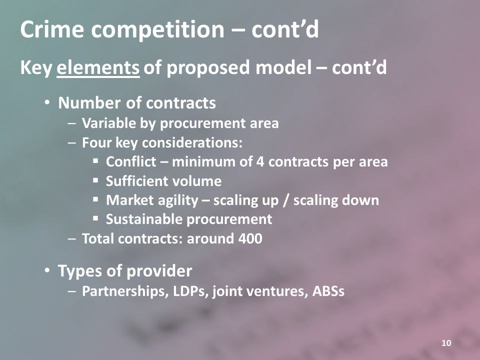 10 Crime competition – cont'd Key elements of proposed model – cont'd Number of contracts –Variable by procurement area –Four key considerations:  Co