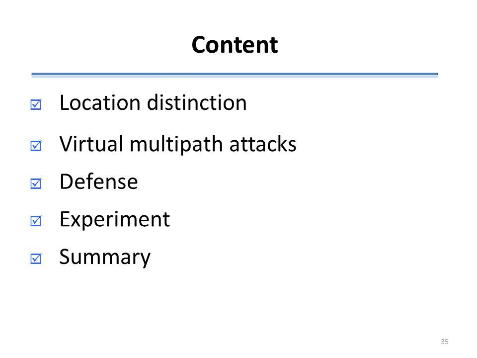 Content  Location distinction  Defense  Experiment SSummary  Virtual multipath attacks 35