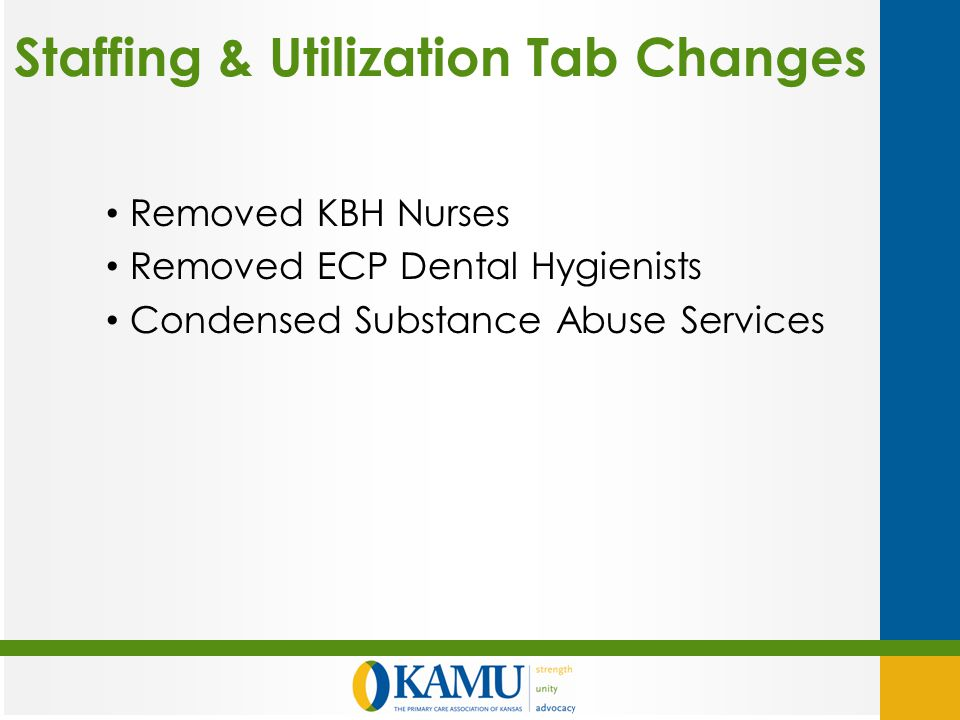 Staffing & Utilization Tab Changes Removed KBH Nurses Removed ECP Dental Hygienists Condensed Substance Abuse Services